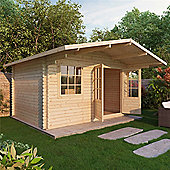 4m x 3m (13ft x 10ft) Sutton Home Office Log Cabin (Single Glazing) 44mm Garden Cabin - Fast Delivery - Pick A Day