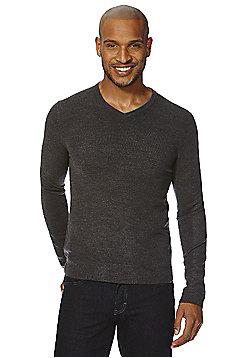 F&F Soft Touch V-Neck Jumper - Charcoal