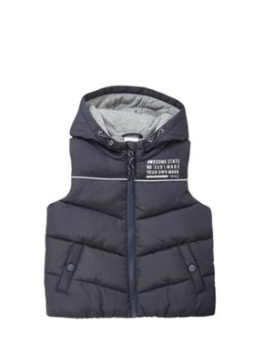 F&F Awesome Slogan Hooded Padded Gilet Navy 4-5 years