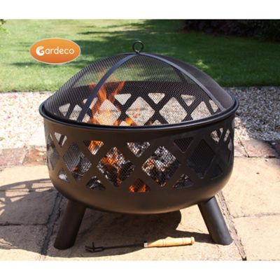Deep-drawn fire bowl with criss cross cut-out view of fire