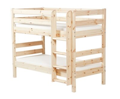 Flexa Classic Bunk Bed with Straight Ladder - Natural Lacquer
