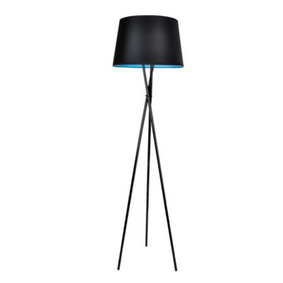 Modern Tripod Floor Lamp, Gloss Black & TapeRed, Black & Blue