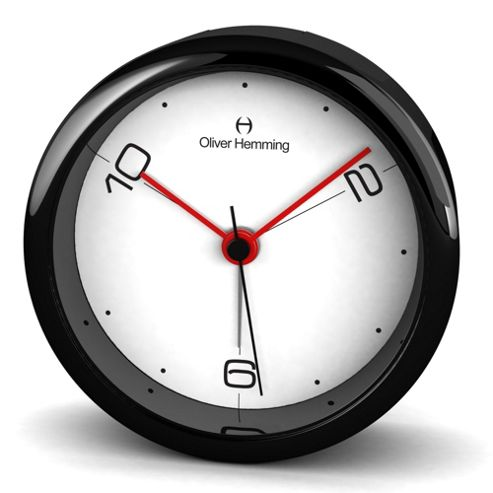 Oliver Hemming Acrylic Handy Night Light Alarm Clock - Black/White
