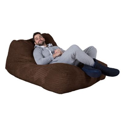 Lounge Pug® Double Day Bed Bean Bag - Cord Mocha