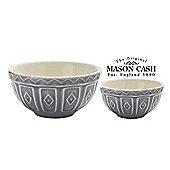 Mason Cash Colour Mix Mixing Ceramic Bowl, Microwave & Dishwasher Safe, Set of 2 (Grey)