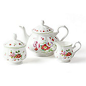 3 Piece Red Rose Bone China Tea Set