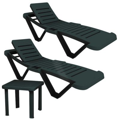 Resol Master Green Sun Loungers & Side Table - x2 Sun Loungers and 1 Table
