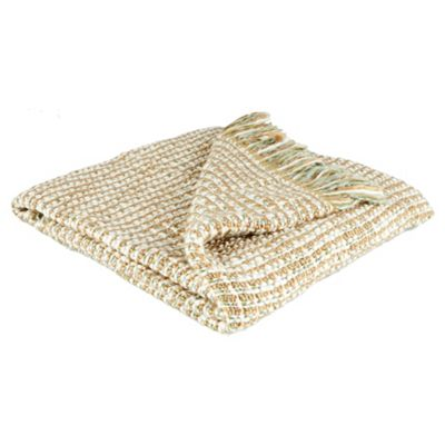 F&F home chunky knit throw natural 125x160cm