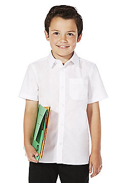 F&F School 2 Pack of Boys Non-Iron Short Sleeve School Shirts - White