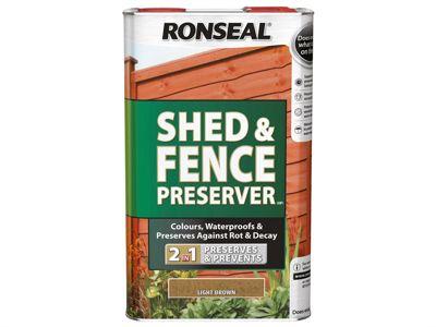 Ronseal Shed & Fence Preserver Light Brown 5 Litre