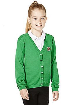 Girls Embroidered Cotton School Cardigan with As New Technology - Green