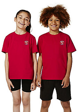 Unisex Embroidered Sports T-Shirt - Red