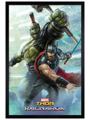 Thor Ragnarok Black Wooden Framed Thor And Hulk Poster 61x91.5cm