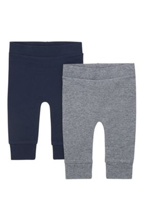 F&F 2 Pack of Cuffed Joggers Navy/Grey 9-12 months