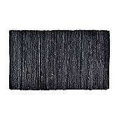 Homescapes Denver Leather Woven Rug Black, 90 x 150 cm