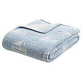Blue Boat Chenille Baby Blanket