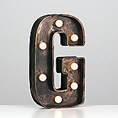 Vintage Style Battery Operated Brushed Bronze Plastic LED Light - Letter G