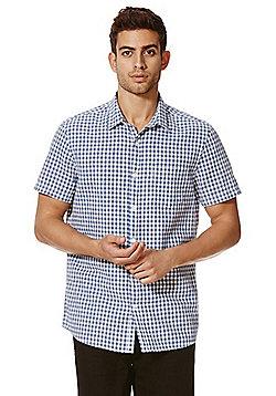 F&F Gingham Linen Blend Short Sleeve Shirt - Blue