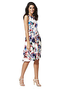 Feverfish Floral Print Textured Fit and Flare Dress - Multi