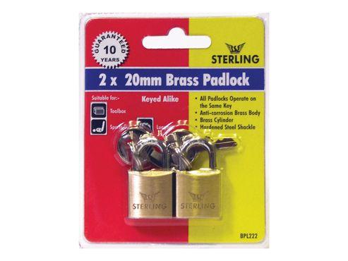 Sterling Bpl222 Padlock Brass 20Mm X2