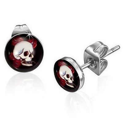 Urban Male Skull Design Men's Stud Earrings Stainless Steel 7mm