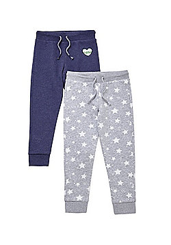 F&F 2 Pack of Star Print and Sequin Badge Joggers - Grey