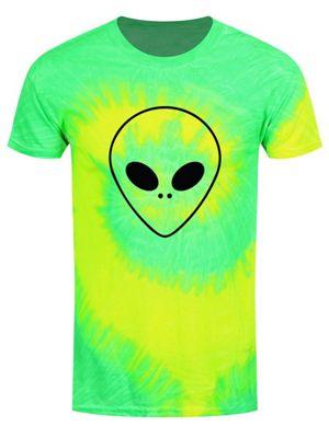 Alien Head Men's Yellow & Lime Green Tie-Dye T-shirt