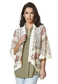 Mela London Floral Print Chiffon Kimono - Cream