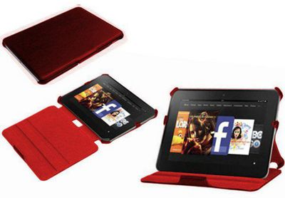 Navitech Red Multi Stand Hard Faux Leather Case For The Kindle Fire HD 8.9 inch