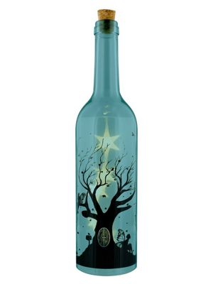 Fairy Tree Decorative Blue Bottle with LED Light 7x33cm