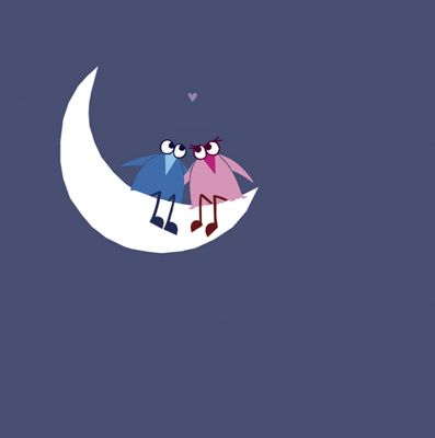 Holy Mackerel Greetings Card- Over the moon love birds