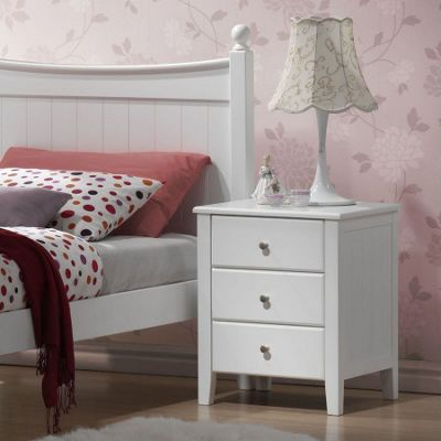 Hickory Bedside Chest - White