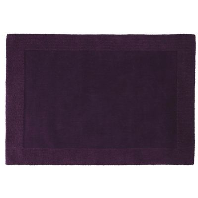 Tesco Tiered Border Wool Rug Plum 120X170Cm