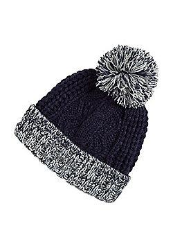 F&F Cable Knit Bobble Hat - Blue