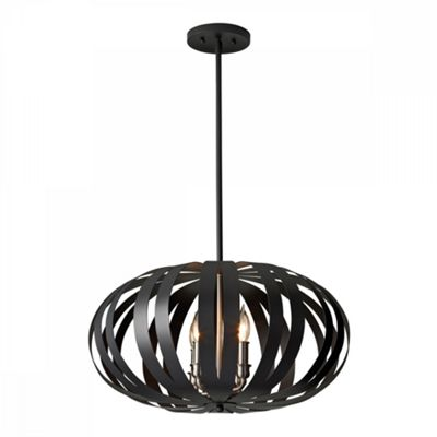 Textured Black 4lt Medium Chandelier - 4 x 40W E14