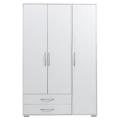 Newport Triple Wardrobe with 2 Drawer, White