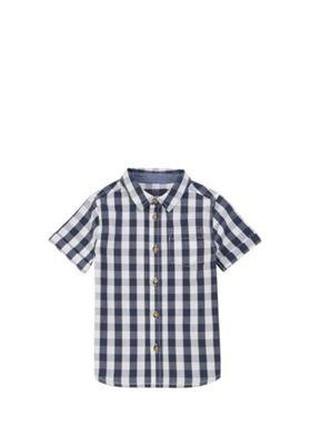 F&F Gingham Short Sleeve Shirt Navy/White 12-18 months