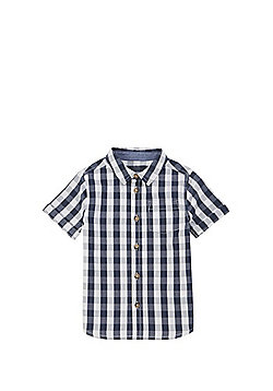 F&F Gingham Short Sleeve Shirt - Navy/White