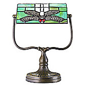 Tiffany Bankers Desk Lamp with Green Dragonfly Glass Shade