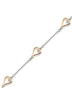 Rhodium Coated Sterling Silver Heart Bracelet