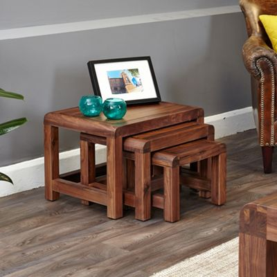 Salem Walnut Nest of 3 Coffee Tables