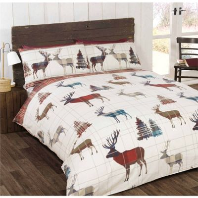 Rapport Woodland Stag Red Duvet Cover Set - Double