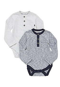 F&F 2 Pack of Henley Long Sleeve Bodysuits - Navy