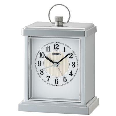 Seiko QHE148S Sweep Second Hand Beep Alarm Clock│Snooze│Rectangular Shape - Silver