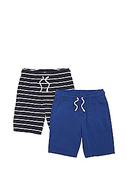 F&F 2 Pack of Drawstring Jersey Shorts - Navy/Blue