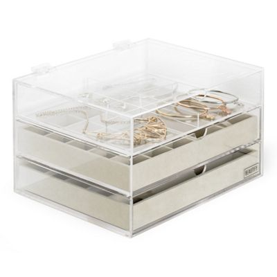 Beautify Acrylic Jewellery Organiser with 3 Drawers & Soft Grey Velvet Dividers