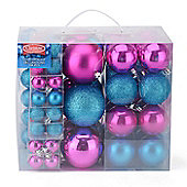 Christow 106 Assorted Christmas Baubles - Pink & Blue