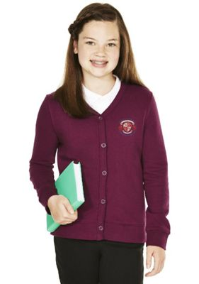 Girls Embroidered Cotton Blend School Sweatshirt Cardigan with As New Technology 6-7 years Burgundy