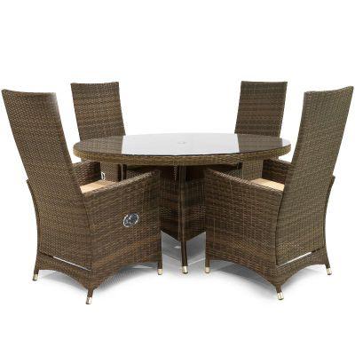 Maze Rattan - Ruxley 4 Seat Dining Set - 74cm Round - Brown
