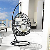 Outsunny Garden Rattan Swing Chair Egg Hanging Seat w/ Cushion & Pillow - Black